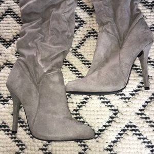 Shoes - J Lo grey mid length suede like boots